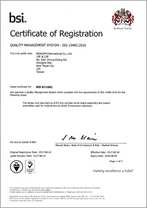 bsi awarded nexcom with the iso 13485 2016 certification of quality